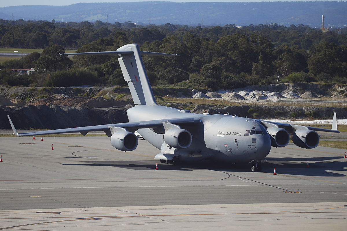 ZZ173 Boeing C-17A Globemaster III (cn F-80/UK-3) of 99 Squadron, Royal Air Force, based at RAF Brize Norton, UK at Perth Airport – 12 July 2015.