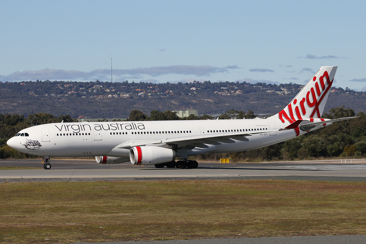VH-XFC Airbus A 330-243 (MSN 1293) of Virgin Australia at Perth Airport – 14 July 2015.