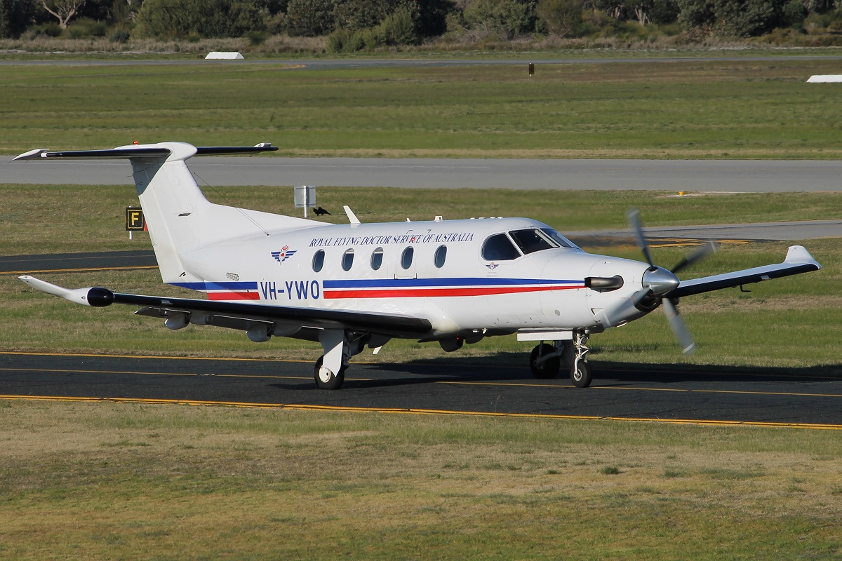 VH-YWO Pilatus PC-12/47 (MSN 725) of Royal Flying Doctor Service - Western Operations, at Jandakot Airport – 15 July 2015.