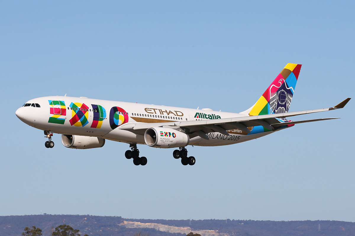 A6-EYH Airbus A330-243 (MSN 729) of Etihad Airways in Expo Milano 2015 livery at Perth Airport – 16 July 2015.