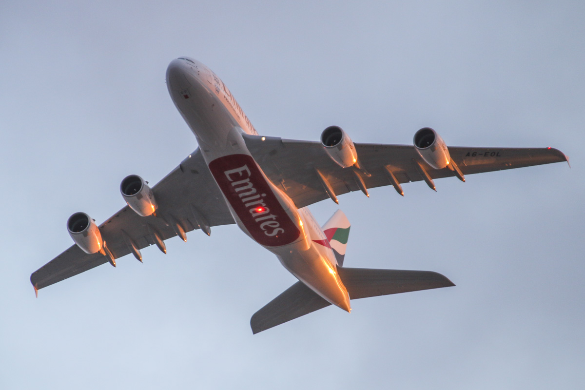 A6-EOL Airbus A380-861 (MSN 186) of Emirates, over the northern suburbs of Perth - Fri 24 July 2015. A6-EOL was delivered new to Emirates on 17 July 2015, and its first revenue service was flight EK424 from Dubai to Perth on the morning of 21 July 2015. It is seen here on its second visit to Perth, operating the evening flight EK420 from Dubai at 5:27pm, flying northeast along the 9 DME arc before joining the approach to Perth Airport's runway 21. Photo © David Eyre