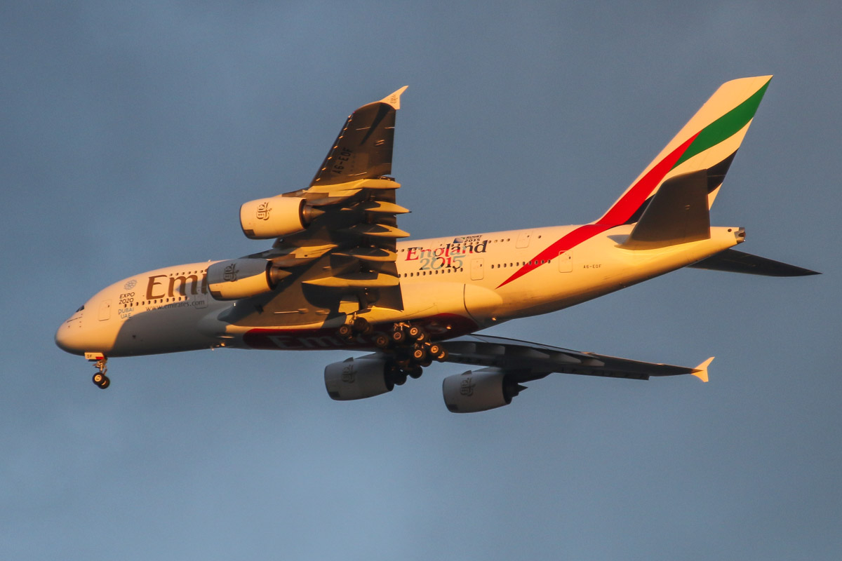 A6-EOF Airbus A380-861 (MSN 171) of Emirates, with 'Rugby World Cup 2015 - England 2015' titles, over the northern suburbs of Perth – Sat 25 July 2015. Flight EK420 from Dubai, flying northeast along the 9 DME arc at 5:22pm before joining the approach to runway 21 at Perth Airport. Lowered his landing gear much earlier than usual and was lower than usual today. Photo © David Eyre