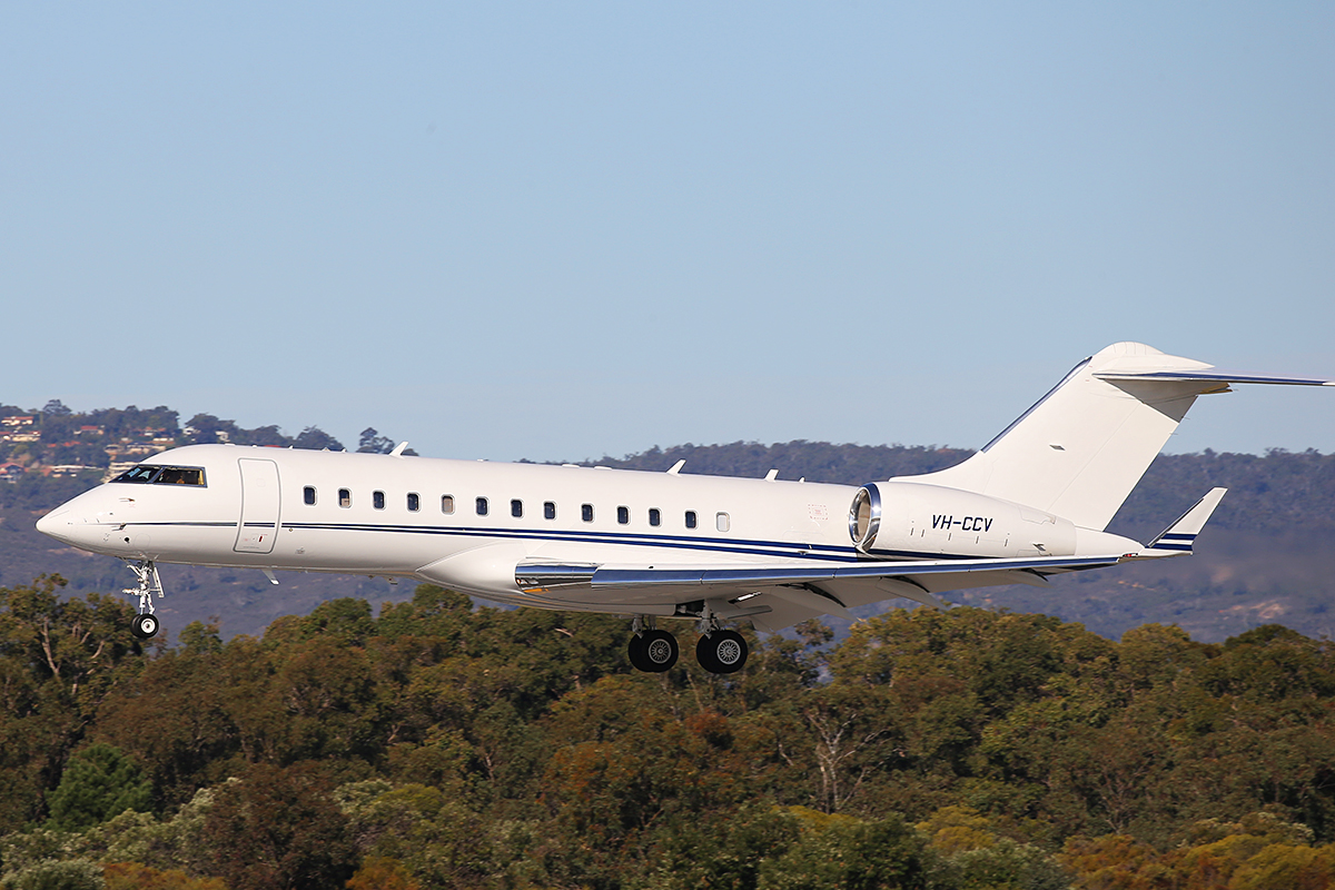 VH-CCV BD-700-1A1O Global Express of Crown Melbourne Ltd at Perth airport – 27 July 2015.