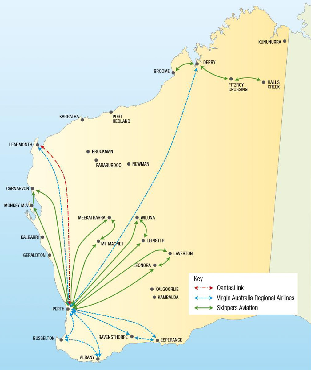 WA regulated air routes 2015.  (WA Department of Transport)