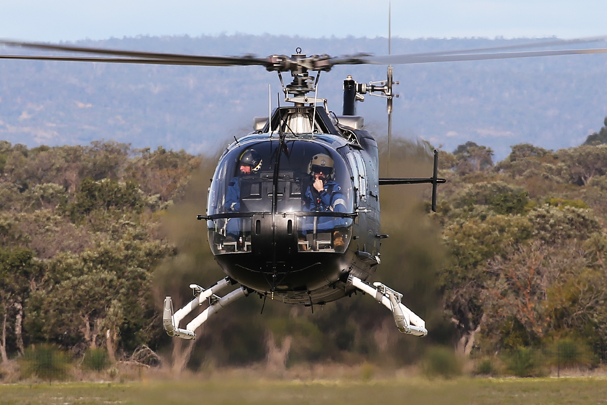 VH-XRG Eurocopter Bo-105LS-A3 (MSN 2037) of Heliwest at Jandakot Airport – 3 Aug 2015.