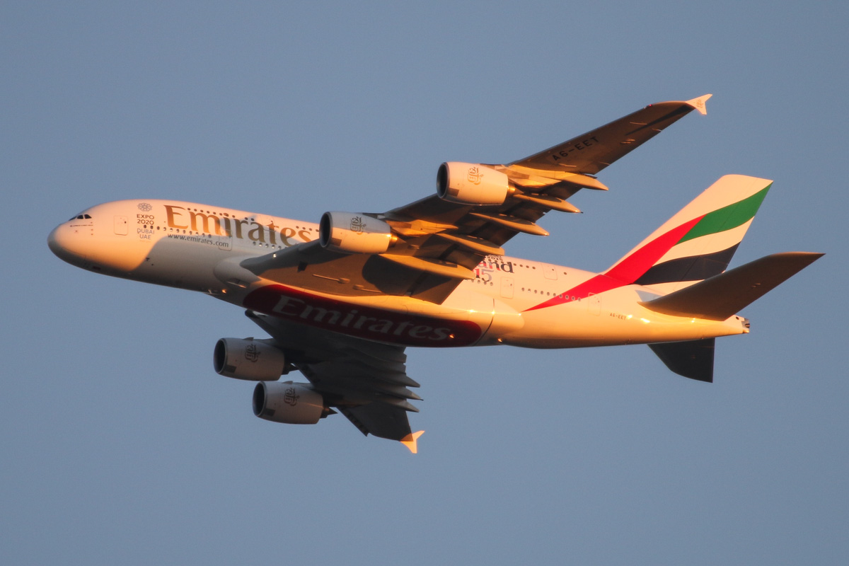 A6-EET Airbus A380-861 (MSN 142) of Emirates, with 'World Cup 2015 - England 2015' decals on the rear fuselage, over the northern suburbs of Perth - Fri 14 August 2015. Flight EK420 from Dubai at 5:40pm, turning northeast along the 9DME arc at 3,200 feet, before joining the approach to Perth Airport's runway 21. Photo © David Eyre