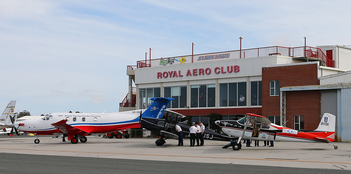 Royal Flying Doctor Service Aircraft in front of the Royal Aero Club building at Jandakot airport - 16 Aug 2015.