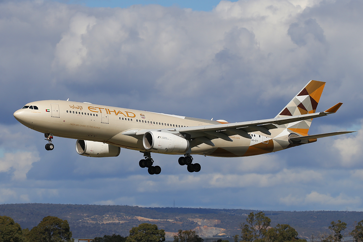 A6-EYI Airbus A330-243 (MSN 730) of Etihad, at Perth Airport – 24 August 2015.