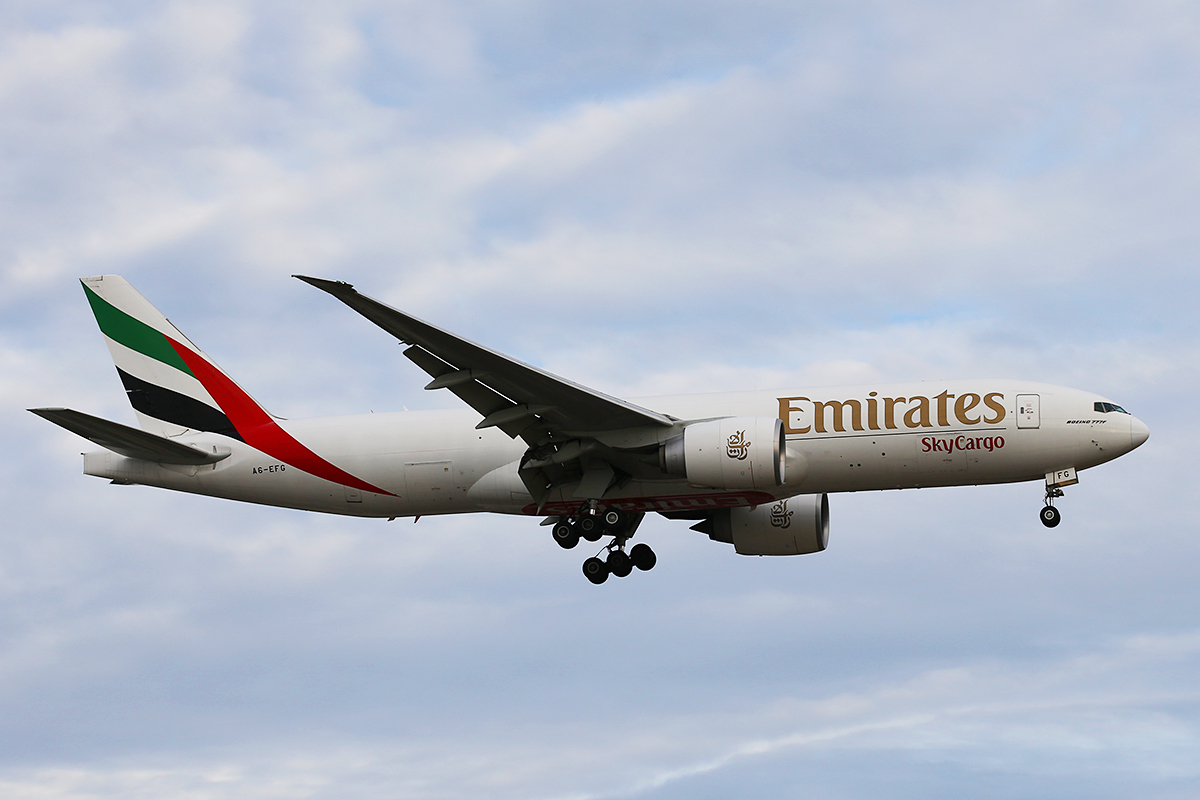 A6-EFG Boeing 777-F1H (MSN 35613) of Emirates Sky Cargo at Perth Airport – 26 August 2015.