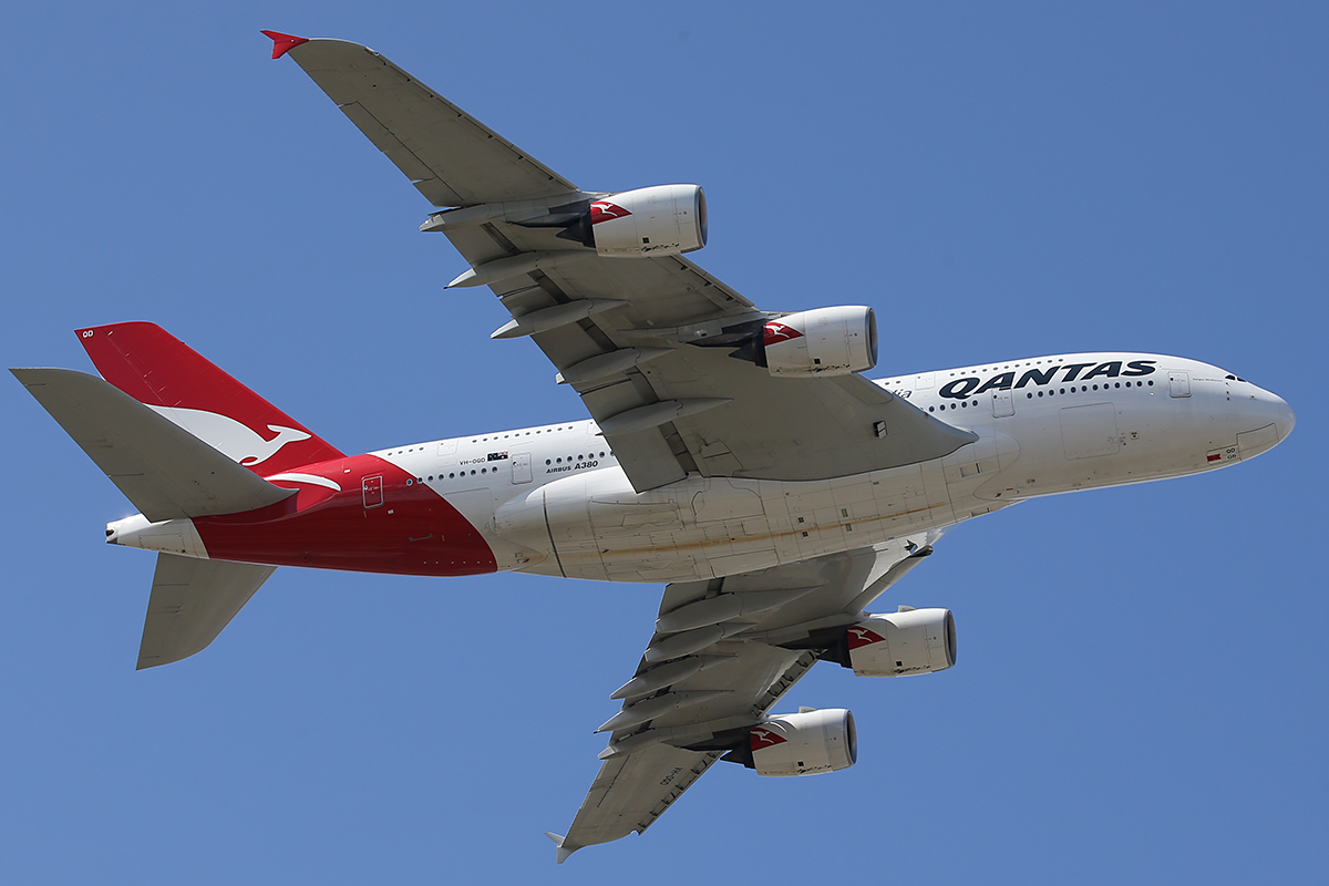 "VH-OQD Airbus A380-842 (MSN 26) named ""Fergus McMaster"" of Qantas at Perth Airport – 1 September 2015."