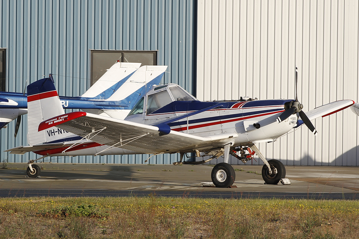 VH-NYO Cessna T188C AgHusky (MSN T18803786T), owned by Midwest Aerial Ag Pty Ltd, of Carnamah, WA, at Jandakot Airport – 5 Sept 2015.
