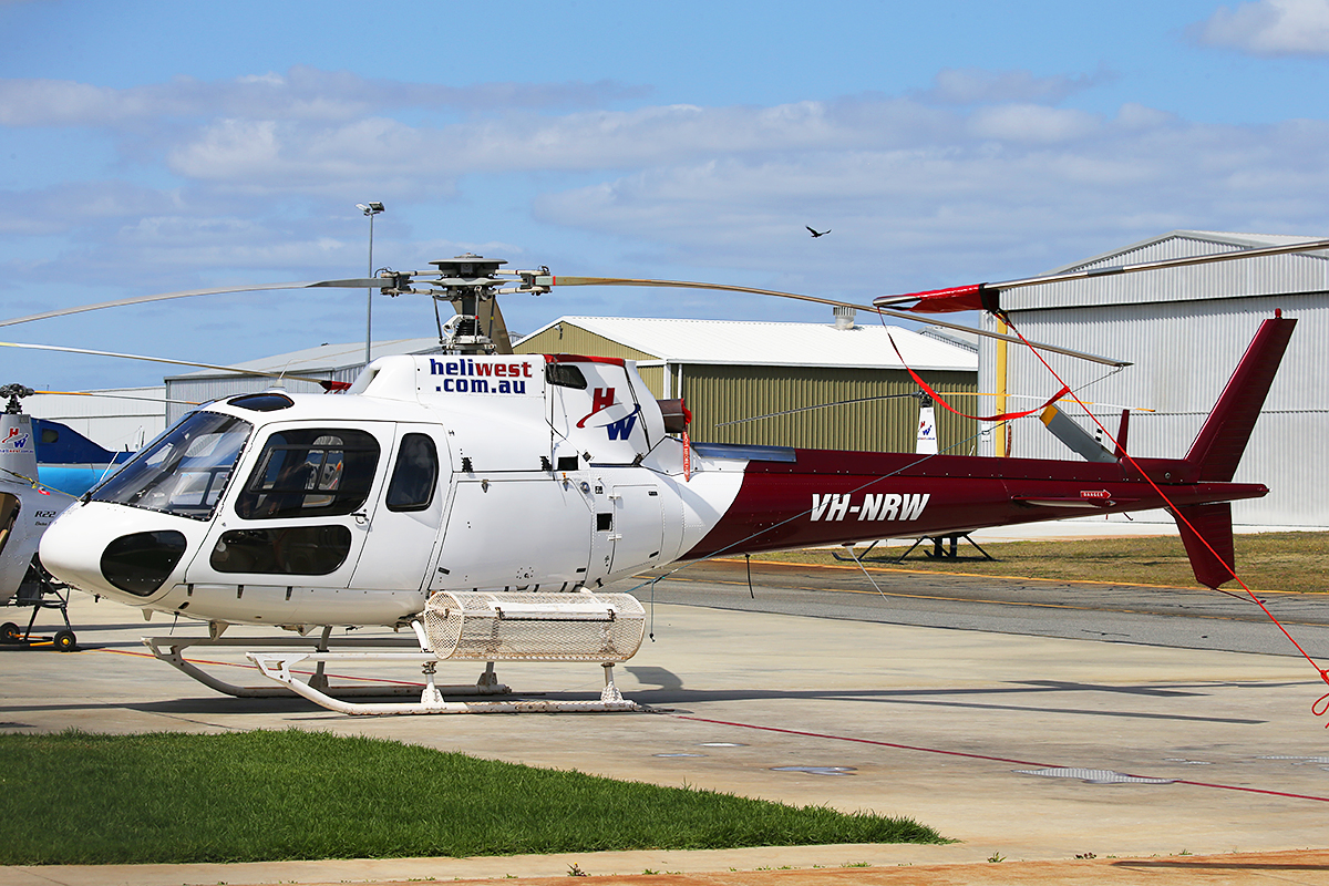 VH-NRW Eurocopter AS350B2 Squirrel (MSN 3232) of Heliwest at Jandakot airport – 6 Sept 2015.