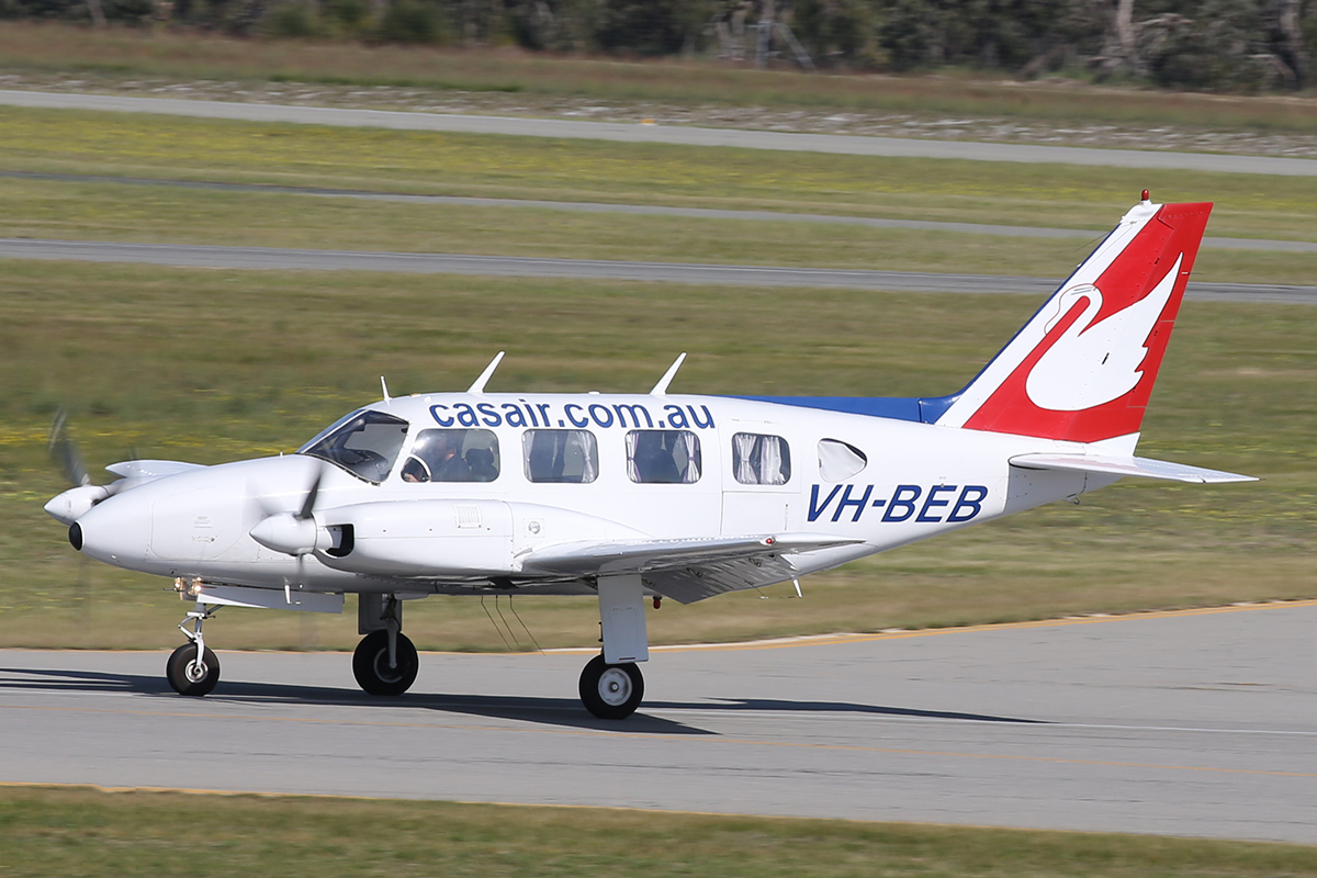 VH-BEB Piper PA-31-310 Navajo (MSN 31-41) of Casair at Jandakot Airport – 8 Sept 2015.