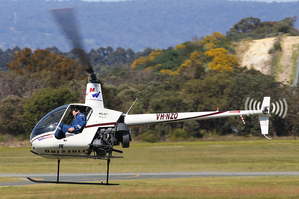 VH-NZO Robinson R22 Beta (MSN 4362) of Heliwest at Jandakot airport – 6 Sept 2015.