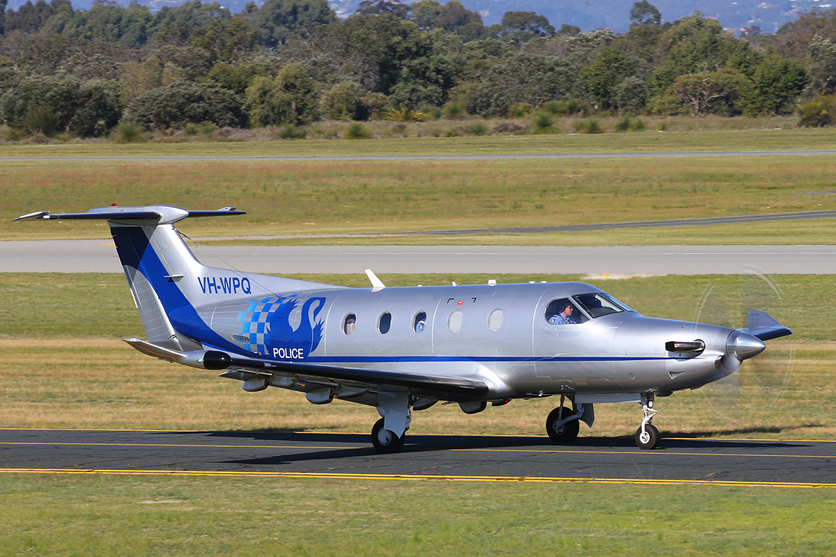 VH-WPQ Pilatus PC-12/47E (MSN 1394) of WA Police at Jandakot Airport – 8 September 2015.