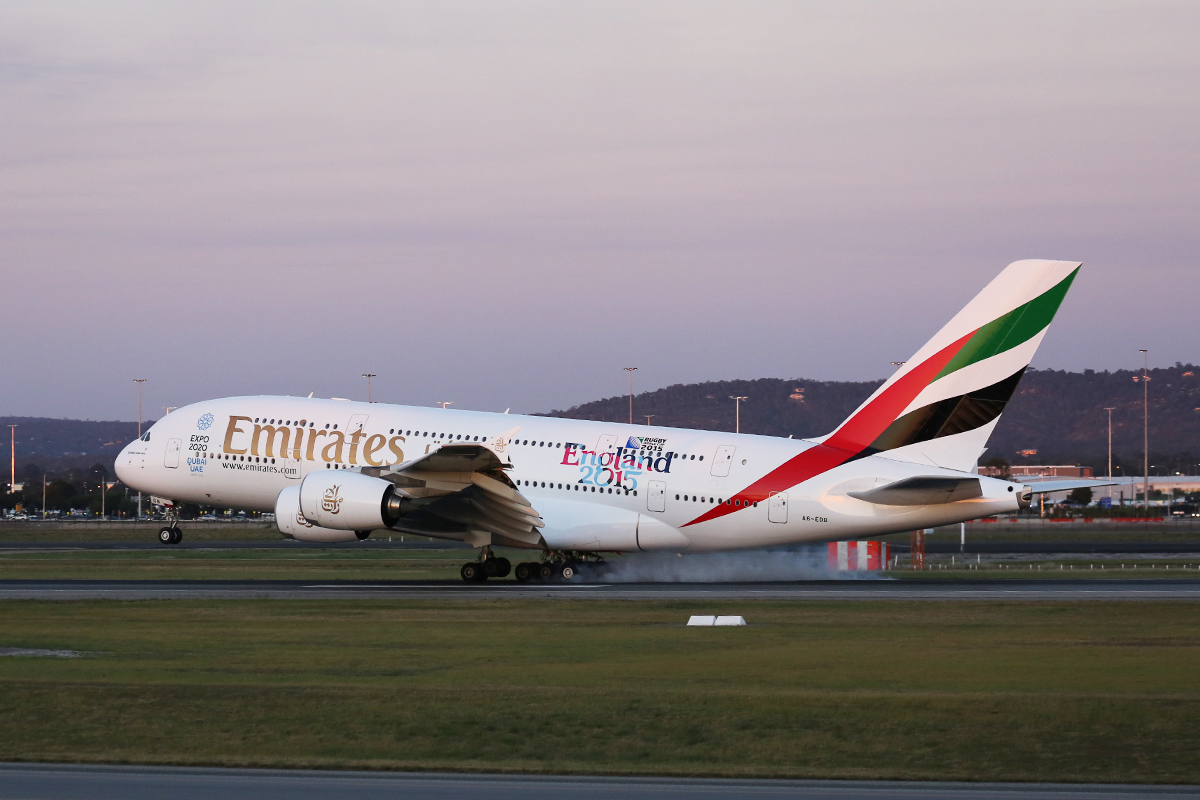 A6-EDB Airbus A380-861 (MSN 013) of Emirates at Perth Airport - 9 Sept 2015.