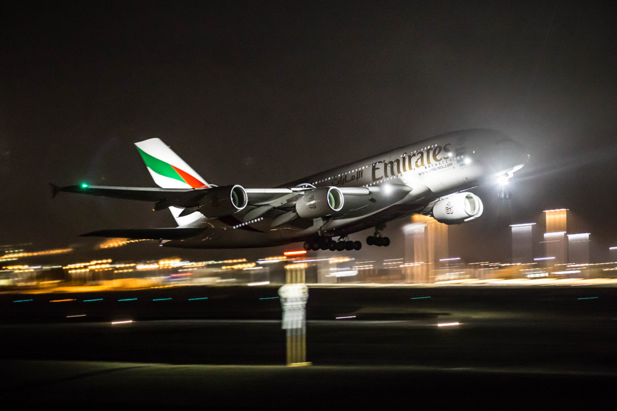 A6-EOH Airbus A380-861 (MSN 174) of Emirates, at Perth Airport – Sun 13 September 2015. Flight EK421 to Dubai, taking off from runway 03 at 10:34pm. Photo © Marcus Graff