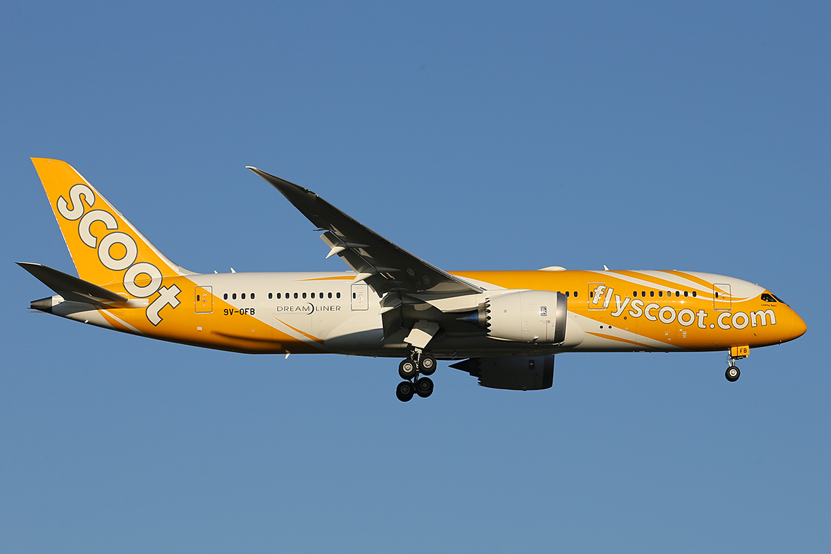 "9V-OFB Boeing 787-8 Dreamliner (MSN 37118) named ""Lickity Split"" of Scoot at Perth Airport – 17 September 2015."
