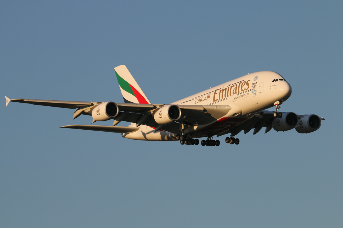 A6-EDY Airbus A380-861 (MSN 106) of Emirates, at Perth Airport - Thu 17 September 2015. Flight EK420 from Dubai, on final approach to runway 21 at 5:30pm. Photo © David Eyre