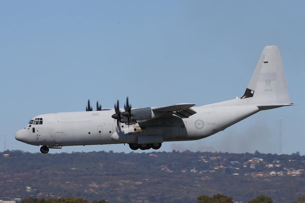 A97-447 Lockheed Martin C130J-30 Hercules (MSN 5447) of RAAF at Perth Airport – 20 Sept 2015.