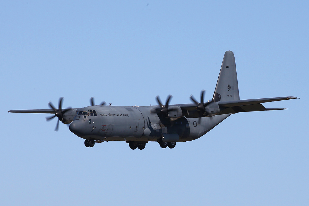 A97-465 Lockheed Martin C130J-30 Hercules (MSN 5465) of RAAF at Perth Airport – 20 Sept 2015.