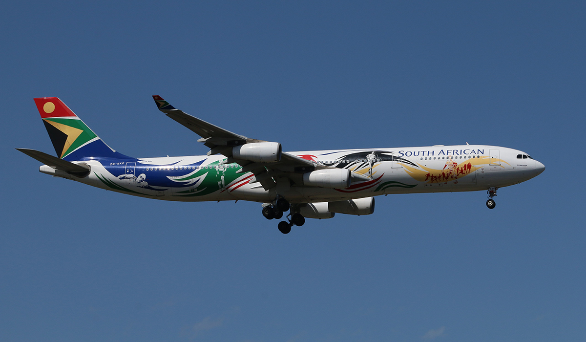 "ZS-SXD Airbus A340-313X (MSN 643) South African Airways, in special Olympics colours, named ""Siyanqoba"" at Perth Airport – 24 September 2015."