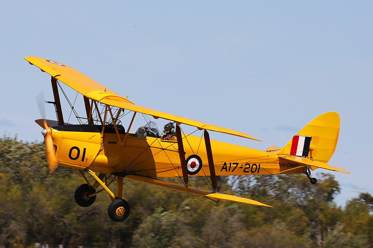 VH-DWD/A17-201 De Havilland DH-82A Tiger Moth (MSN DHA202) owned by Bert Filippi, at SABC Annual Fly In, Serpentine Airfield – Sun 27 September 2015.