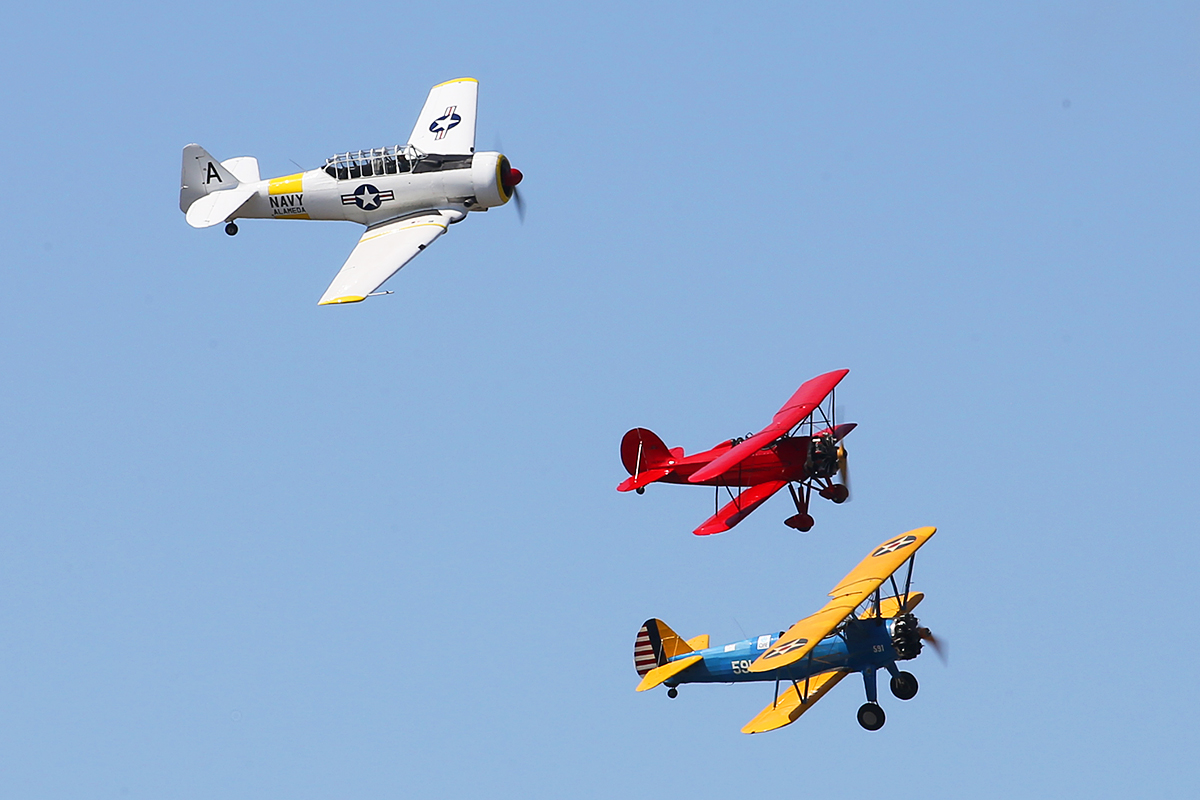 Great Lakes, Stearman and Texan in formation at SABC Annual Fly In, Serpentine Airfield – Sun 27 September 2015.
