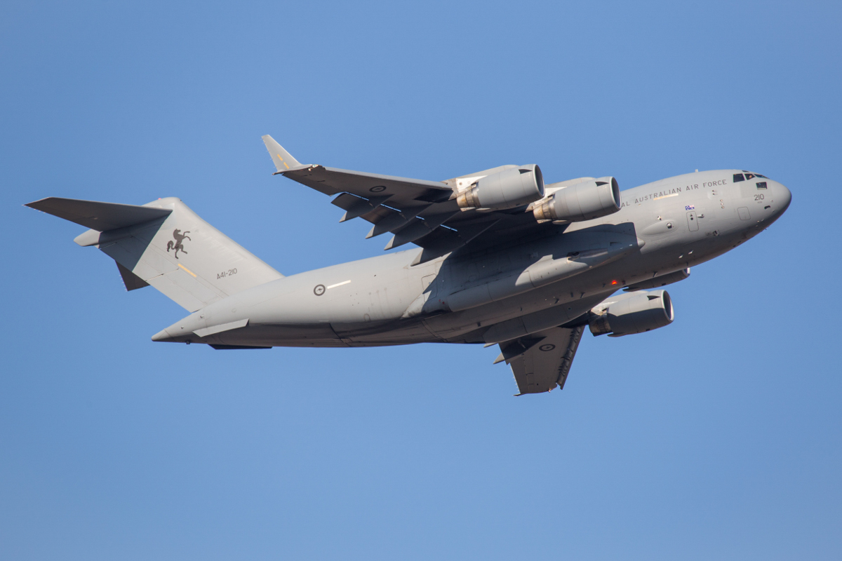 A41-210 Boeing C-17A Globemaster III (MSN F-239/AUS-5) of 36 Squadron, Royal Australian Air Force, at Perth Airport - Fri 25 September 2015. 'STALLION 13' taking off from runway 21 at 4:04pm to reposition to Pearce. It arrived earlier in the afternoon as part of Exercise NORTHERN SHIELD. Photo © Marcus Graff