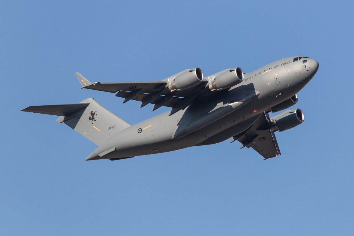 A41-213 Boeing C-17A Globemaster III (MSN 50272/F271/AUS8) of 36 Squadron, Royal Australian Air Force, at Perth Airport - Fri 25 September 2015. 'STALLION 14' taking off from runway 21 at 4:29pm to reposition to Pearce. It arrived earlier in the afternoon as part of Exercise NORTHERN SHIELD. Photo © Marcus Graff