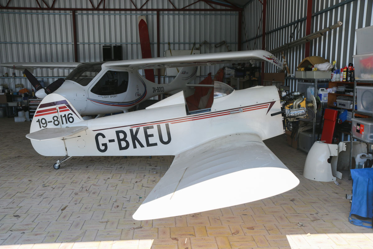 19-8116 / G-BKEU Taylor JT1 Monoplane (MSN PFA055-10553) at Serpentine Airfield – Sun 27 September 2015. The JT.1 Monoplane was the first post-war homebuilt design to come from England, designed by John Taylor in 1956 to be constructed in small spaces with minimal tools and cost, using average building skills. The prototype made its first flight in 1959 and around 110 are believed to have been built. This one was constructed in the UK by James M. Springham and Robert J. Whybrow of Bury St Edmonds, England, and registered as G-BKEU on 18 June 1982. On 18 January 2005, it was registered to Andrew J Moore, of Brackley, UK, but he later moved to Western Australia and it was registered as VH-AZE on 23 Feb 2010. It was re-registered on the RAAus register as 19-8116 on 26 April 2012. Photo © David Eyre