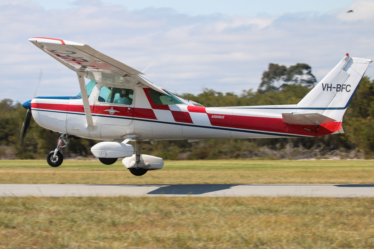 VH-BFC Cessna A152 Aerobat (MSN A1520794) owned by Peter R Hill, at SABC Annual Fly In, Serpentine Airfield – Sun 27 September 2015. Previously owned by the Royal Aero Club of Western Australia and was built in 1978, ex N7375L. Photo © David Eyre