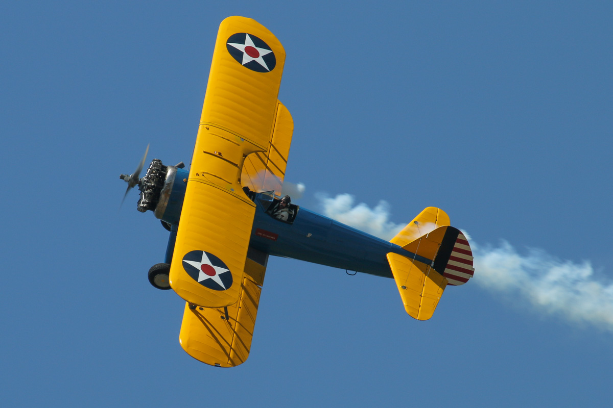 VH-URC Boeing A75N1 Stearman (PT-17 Kaydet) (MSN 75-1834) owned by Heckenbury Pty Ltd, at SABC Annual Fly-In, Serpentine Airfield - Sun 27 September 2015. Built in 1941 as a PT-17 Kaydet. Ex 41-8275, N58403. Wears a WW2-style US Army Air Corps blue/yellow colour scheme. Photo © David Eyre