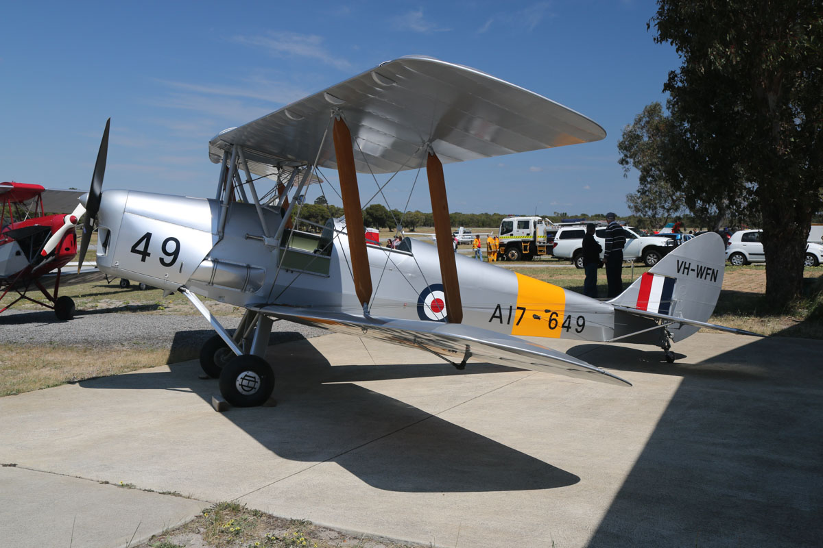 VH-WFN / A17-649 De Havilland DH-82A Tiger Moth (MSN DHA799) owned by William Dearle, at SABC Annual Fly In, Serpentine Airfield – Sun 27 September 2015. Built in 1942 by De Havilland Aircraft at Bankstown, NSW. Originally built for South Africa as DX742, but delivered to the RAAF as A17-649. Sold by RAAF and became VH-RNO on 10 June 1955 with Royal Newcastle Aero Club. Re-registered VH-WFN on 15 Aug 1959 to Aero Service Pty Ltd, it was based at the former Maylands Aerodrome in Perth. It has had a number of owners, accidents and rebuilds in subsequent years. Photo © David Eyre