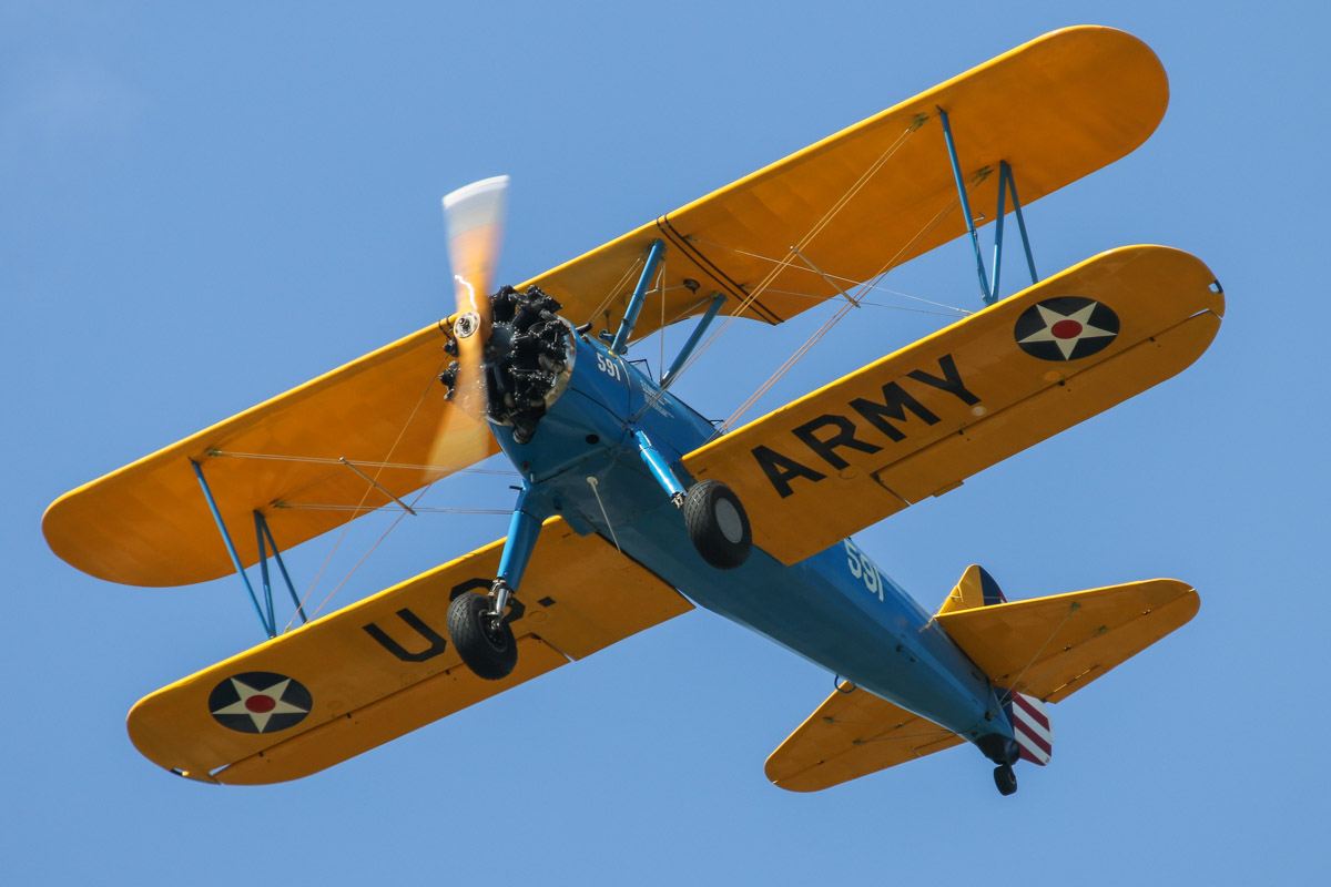 VH-YDF / 4269 / 591 Boeing B75N1 (N2S-3) Stearman (MSN 75-2599B), owned by Julian Walter, at SABC Annual Fly-In, Serpentine Airfield - Sun 27 September 2015. Built in 1941, ex BuNo.4269, N3188, N59127, (VH-JDF not taken up). Photo © David Eyre