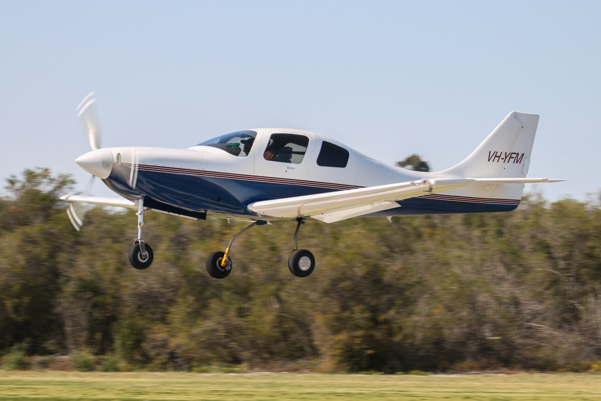 VH-YFM Neico Lancair IV (MSN LIV-160) owned by Frederick E Moreno/Nullaki Air Pty Ltd, of Denmark, WA, at SABC Annual Fly In, Serpentine Airfield – Sun 27 September 2015. Fred Moreno began building this aircraft from a kit in California, starting in the early 1990s. It was 50% complete when he retired, left California and moved to Denmark, WA in 2001. The aircraft was completed in 2008 and since then has travelled all over Australia and NZ. In 2015, flying with Gary Burns, he set FAI speed records for Canberra/Christchurch and Sydney/Christchurch. Photo © David Eyre