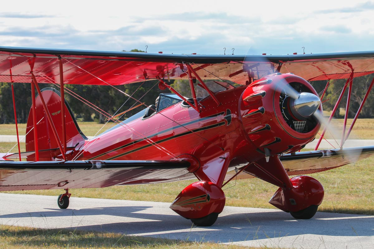VH-YRB WACO Aircraft YMF-F5C (MSN F5C105) owned by Archibald Dudgeon at SABC Annual Fly-In, Serpentine Airfield - Sun 27 September 2015. Built in 2005, ex N105KS. The WACO YMF is a modified version of the 1930s vintage WACO YMF, built to meet current FAA standards. Photo © David Eyre
