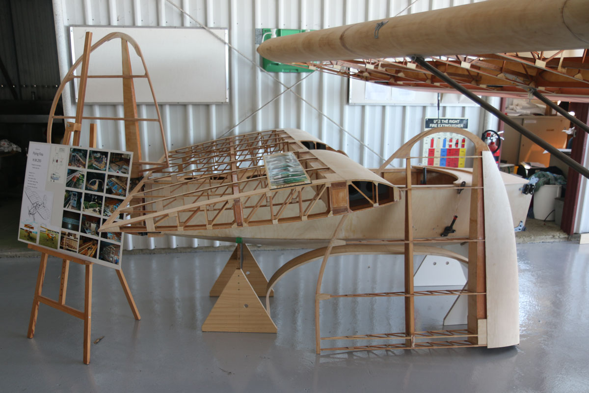 "Mignet HM.293 Flying Flea under construction at Serpentine Airfield - Sun 27 September 2015. The Flying Flea (French: Pou-du-Ciel - English: Louse of the Sky/Flying Flea) was designed by Frenchman Henri Mignet in 1933. The unusual name was derived from the French nickname for the Model T Ford car - ""Pou de la Route"" or ""Louse of the Road"" because it was so common. Mignet planned to create a flying equivalent, affordable to everyone. In 1934, he published the plans and building instructions, leading hundreds of people worldwide built their own Flying Fleas. However, early versions had design flaws could cause an unrecoverable dive under certain conditions, and some builders made modifications which made the aircraft even more dangerous to fly. This tainted the reputation of Mignet and his aircraft, even though it could be safely designed and built. Hundreds are still flying today and more are under construction. Photo © David Eyre"