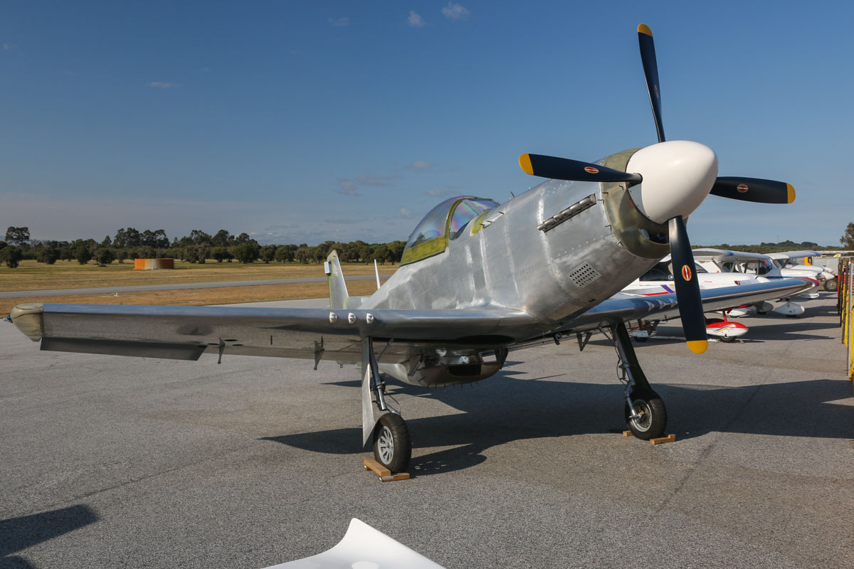 Titan T-51D Mustang, owned by Luis Ricardo, at SABC Annual Fly-In, Serpentine Airfield – Sun 27 September 2015. This type was designed by John Williams as a three-quarter scale replica kit-built version of the North American P-51 Mustang. This example has been under construction by Luis Ricardo since 2008, and is not yet registered. Photo © David Eyre