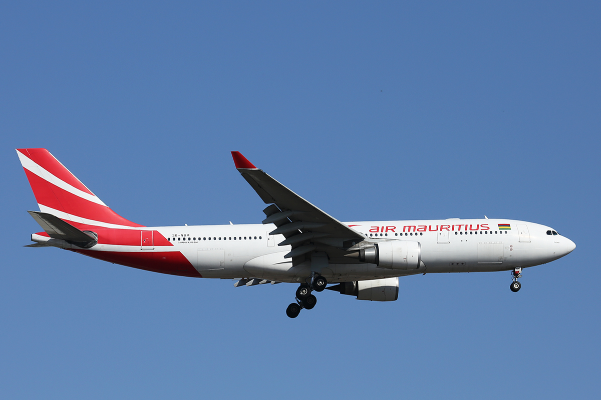 "3B-NBM Airbus A330-202 (cn 883) of Air Mauritius, named ""Tronchetia"" at Perth Airport - 30 Sept 2015."