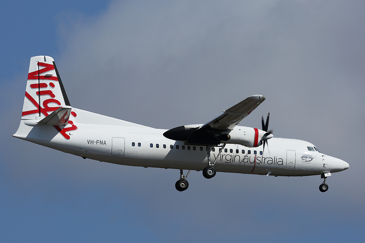 "VH-FNA Fokker 50 (cn 20106) of Virgin Australia Regional Airlines (formerly Skywest), named ""Rockingham Beach"", at Perth Airport – 30 Sept 2015."