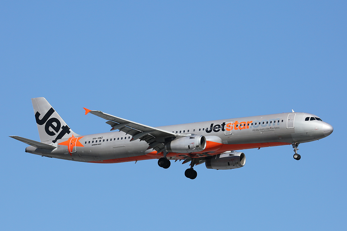 VH-VWZ Airbus A321-231 (MSN 1195) of Jetstar (leased from Pembroke Capital) at Perth Airport – 30 Sept 2015.