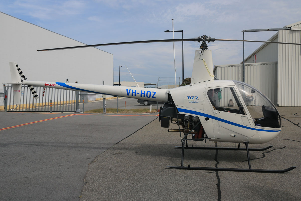 VH-HOZ Robinson R22 Mariner (MSN 1693M) owned by Pearl Coast Helicopters Ltd Ltd, of Cable Beach, WA, at Jandakot Airport - Fri 2 October 2015. Built in 1991, ex RP-C1588. Photo © David Eyre