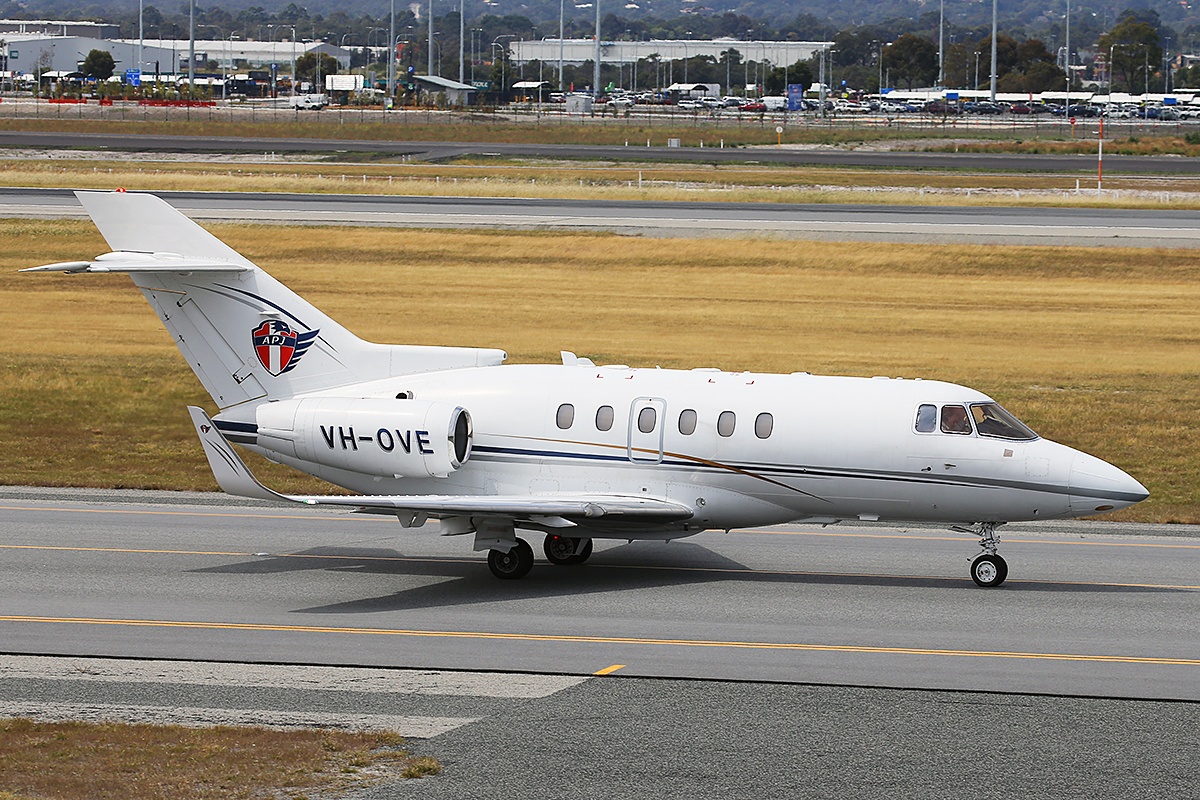 VH-OVE Hawker 800XP (MSN 258366) owned by AP Jets Pty Ltd (leased from Asia Pacific Jets Pte Ltd, Singapore), at Perth Airport – 2 October 2015.