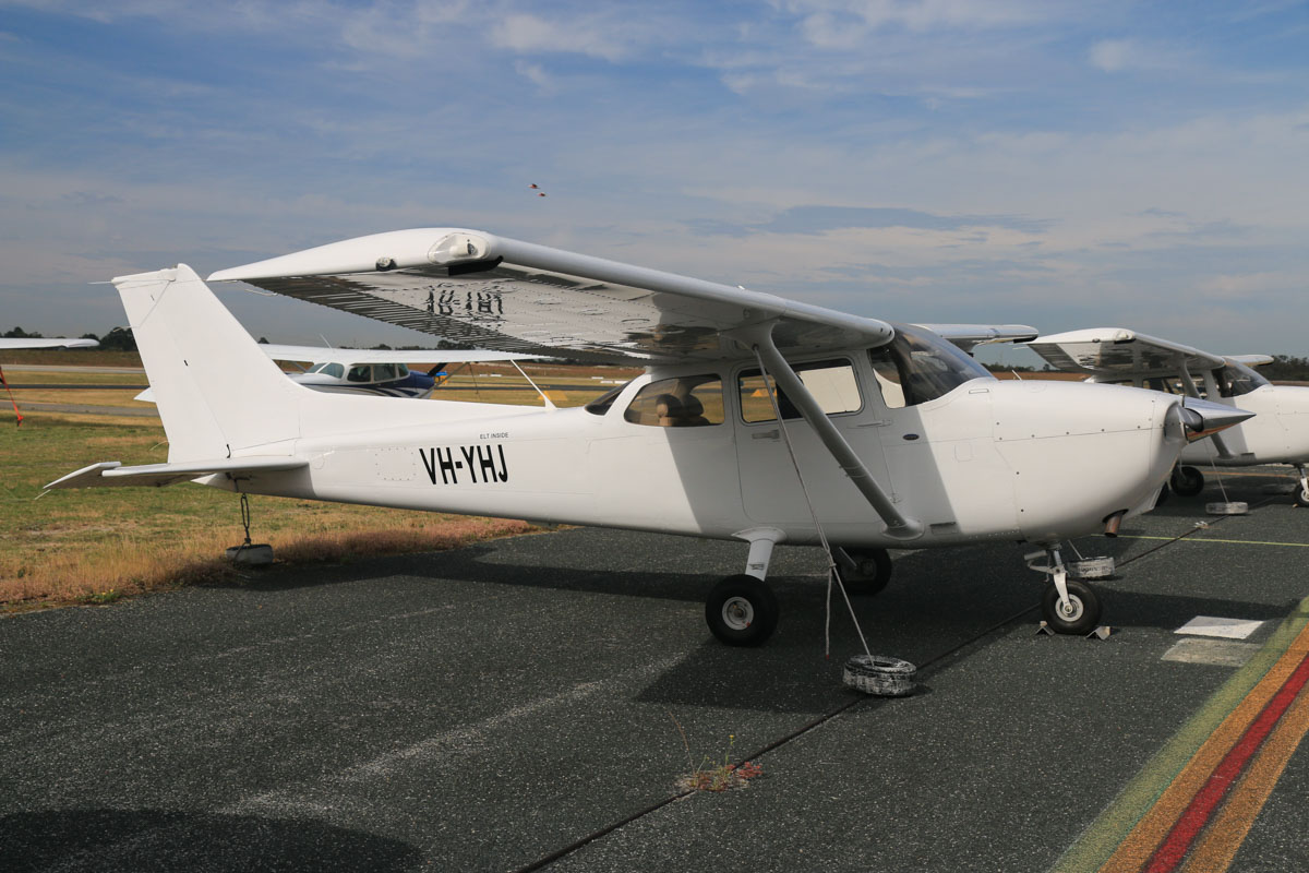 VH-YHJ Cessna 172S Skyhawk SP (MSN 172S10827) owned by Airflite Pty Ltd, at Jandakot Airport - Fri 2 October 2015. This aircraft was registered on 19 March 2015, but the registration has only recently been painted on the aircraft. Formerly registered and owned in Malaysia by Gulf Golden International Flying College (GGIFA) of Bintulu, Malaysia. Built in 2008, ex 9M-GAZ, N828JA. Photo © David Eyre