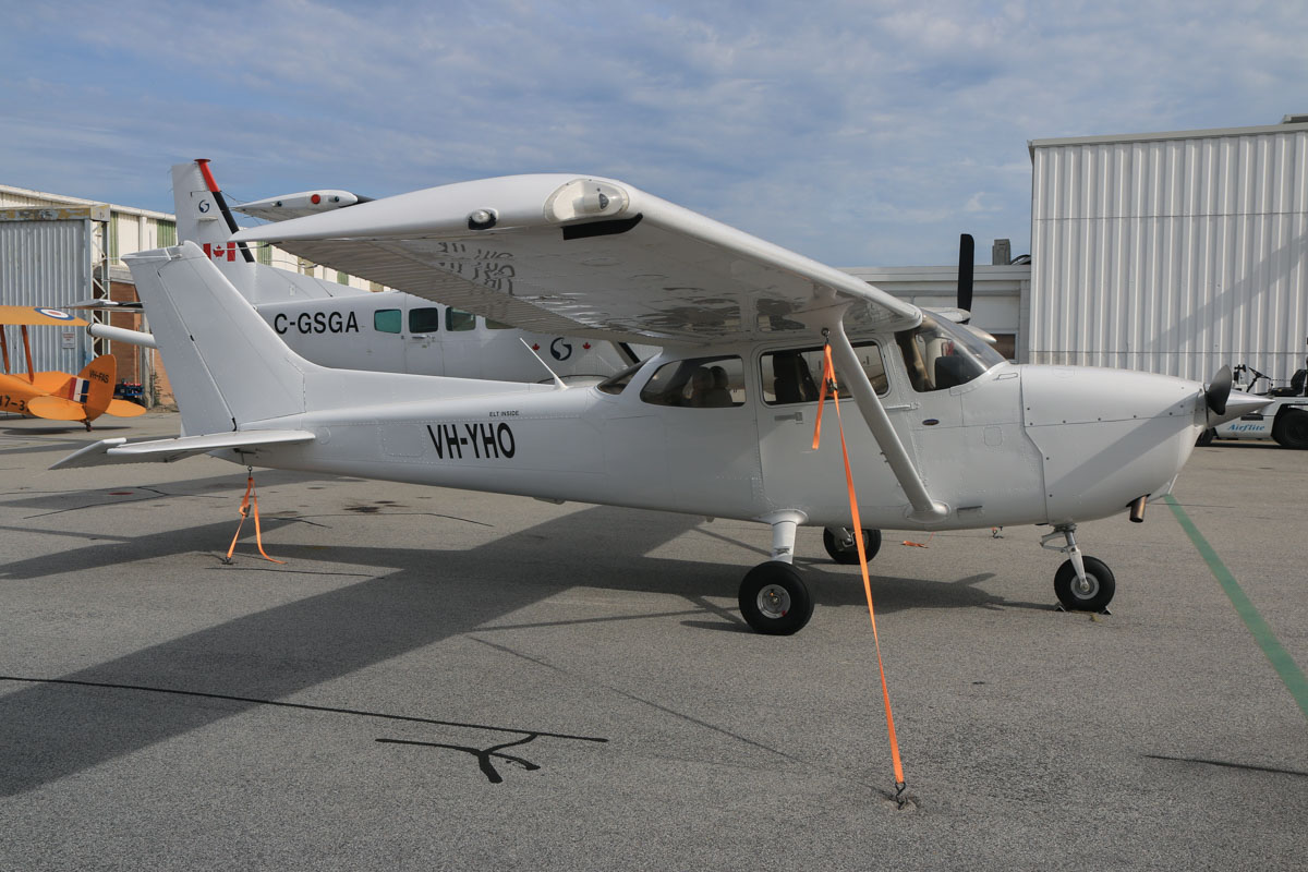 VH-YHO Cessna 172S Skyhawk SP (MSN 172S10838) owned by Airflite Pty Ltd, at Jandakot Airport - Fri 2 October 2015. This aircraft was registered on 19 March 2015, but the registration has only recently been painted on the aircraft. Formerly registered and owned in Malaysia by Gulf Golden International Flying College (GGIFA) of Bintulu, Malaysia. Built in 2008, ex 9M-GRM, N6340X. Photo © David Eyre