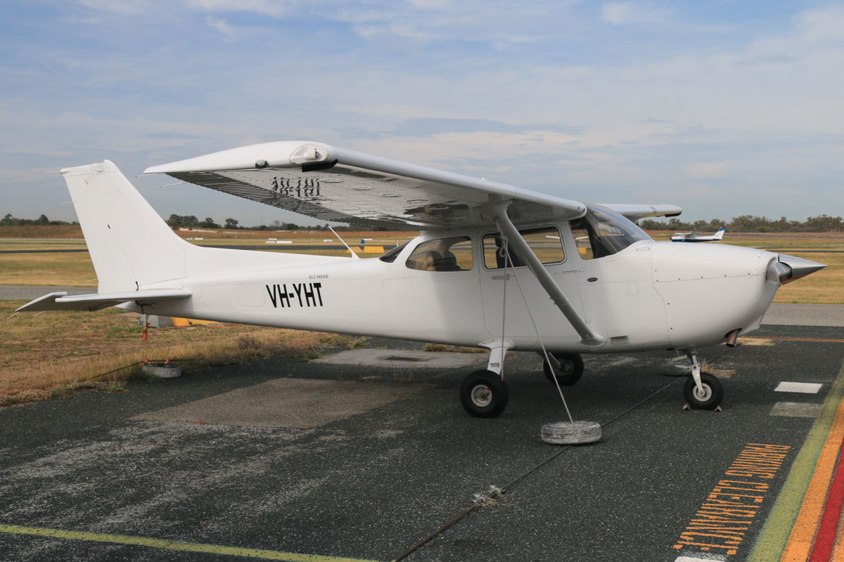 VH-YHT Cessna 172S Skyhawk SP (MSN 172S10852) owned by Airflite Pty Ltd, at Jandakot Airport - Fri 2 October 2015. This aircraft was registered on 8 April 2015, but the registration has only recently been painted on the aircraft. Formerly registered and owned in Malaysia by Gulf Golden International Flying College (GGIFA) of Bintulu, Malaysia. Built in 2008, ex 9M-GQY, N52205. Photo © David Eyre