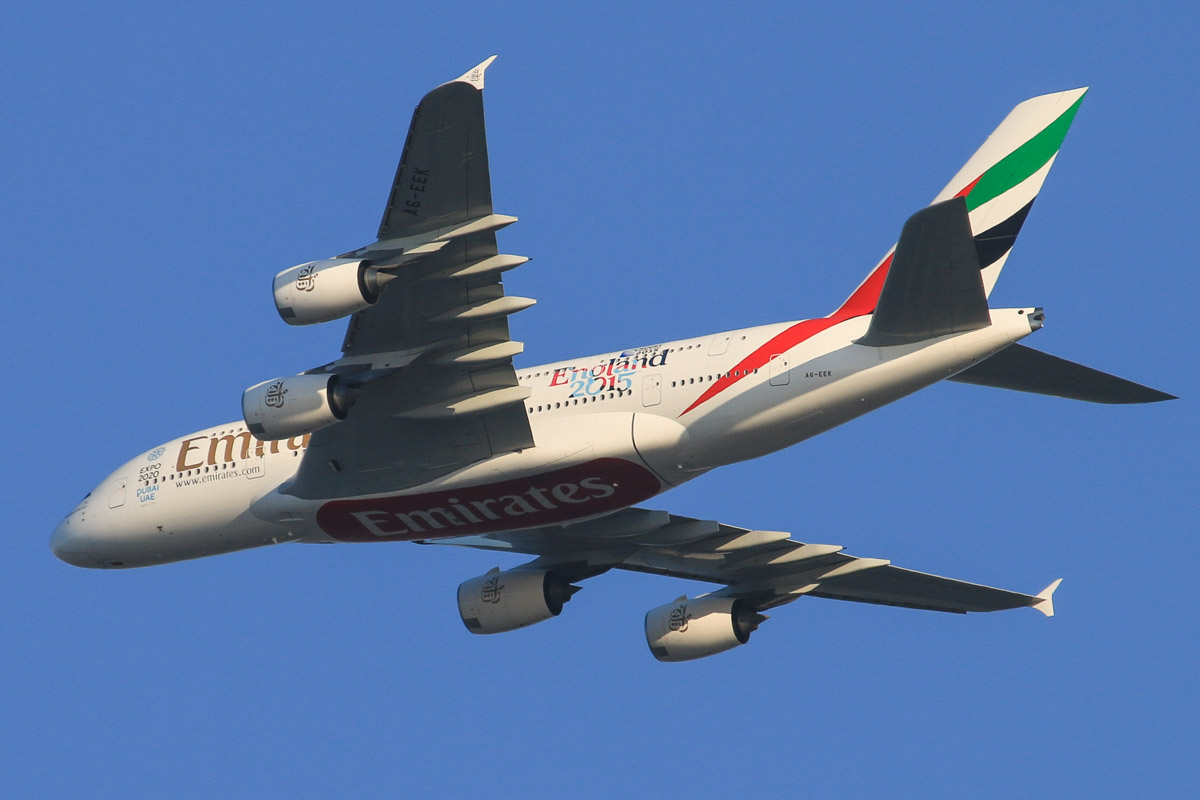 A6-EEK Airbus A380-861 (MSN 132) of Emirates, with 'Rugby World Cup 2015 - England 2015' decals, over the northern suburbs of Perth - Fri 9 October 2015. Flight EK420 from Dubai, at 3,600 feet, turning northeast along the 9 DME arc, before joining the approach to Perth Airport's runway 21 at 5:20pm. Photo © David Eyre