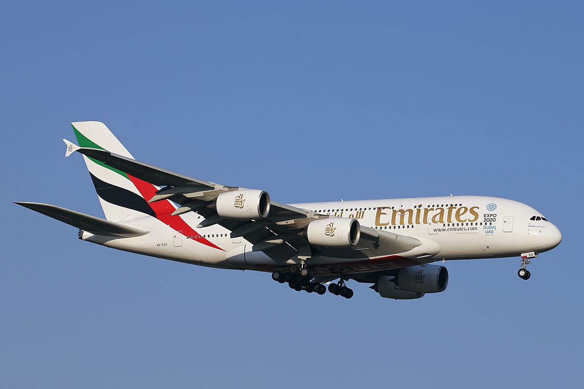 A6-EEG Airbus A380-861 (MSN 116) of Emirates at Perth Airport – 10 October 2015.