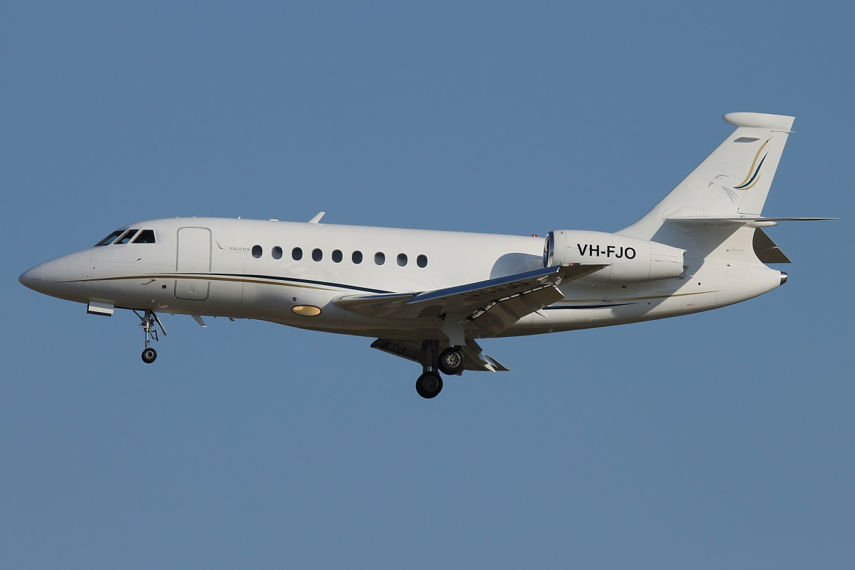 VH-FJO Dassault Falcon 2000 (MSN 27) of Falcon Jet Operations Pty Ltd at Perth Airport – 11 October 2015.